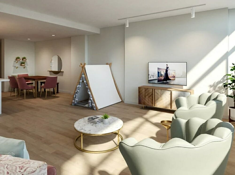 Modern open concept living and dining room with luxurious finishes and a teepee