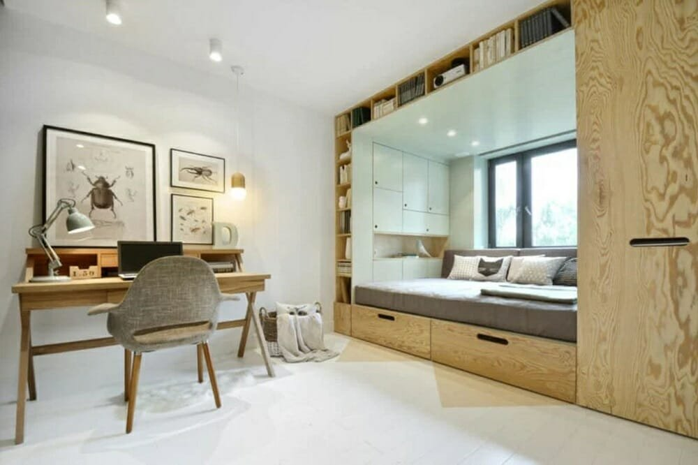 Neat bedroom and study area with ample storage a tip on how to make a room look bigger