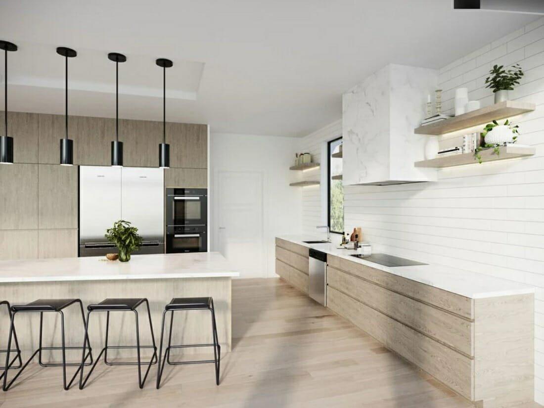 Online kitchen design result - sleek modern interior