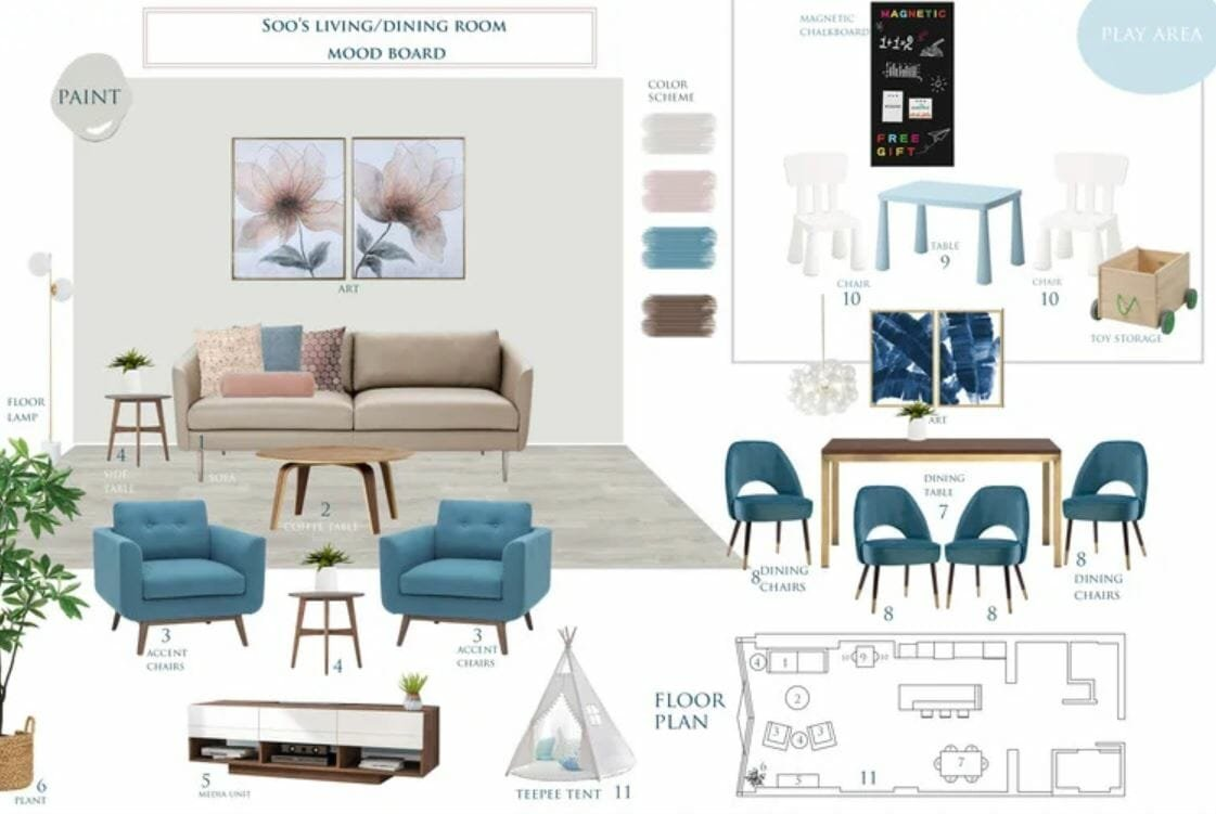 Open concept kitchen and living room mood board