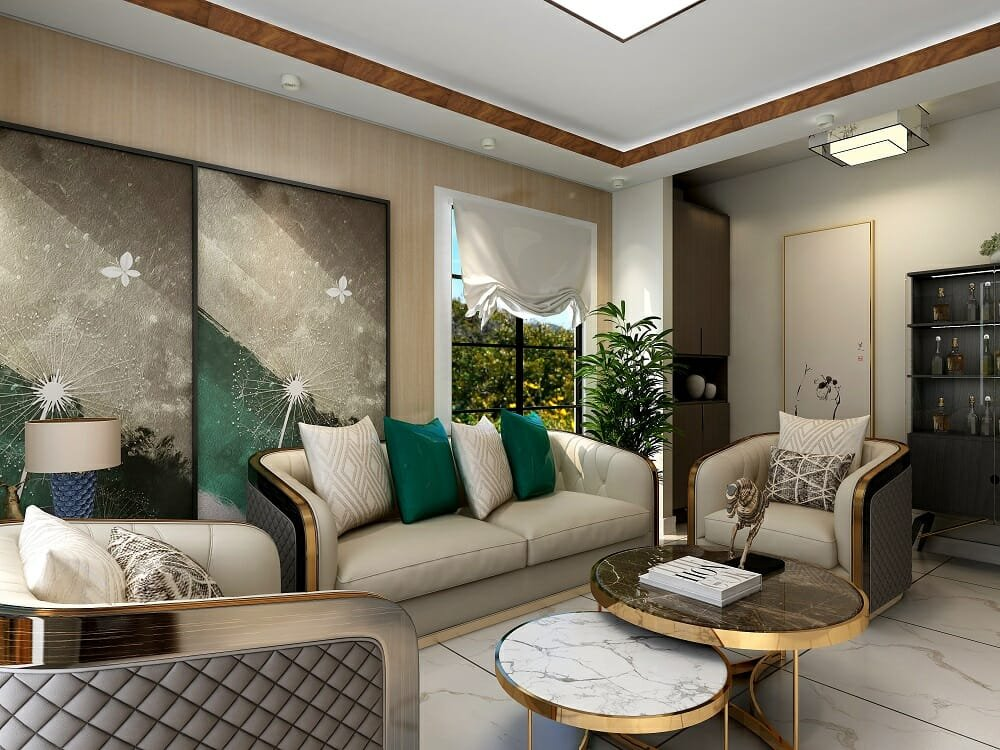Transitional glam living room wirh gold, marble and green accents by online interior decorator Kassondra Leigh