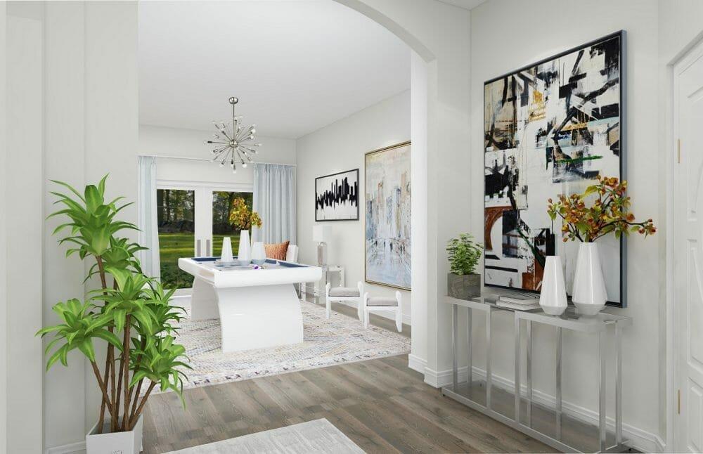 White contemporary dining room design by online interior decorator Kassondra Leigh