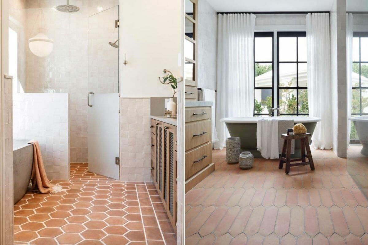 bathroom tile trends 2021 in terracotta