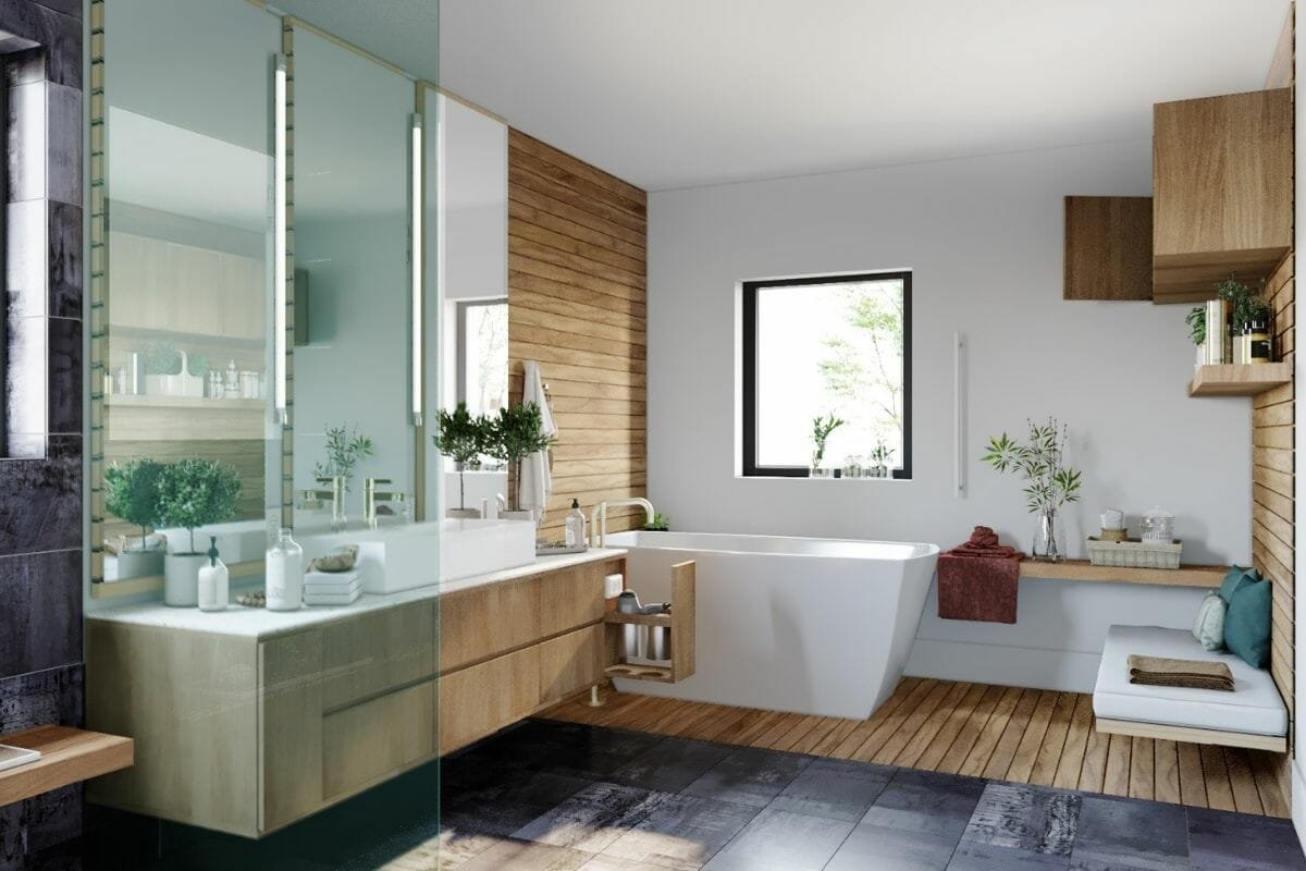 contemporary bathroom design with natural wood, floating shelves and 2021 bathroom trends