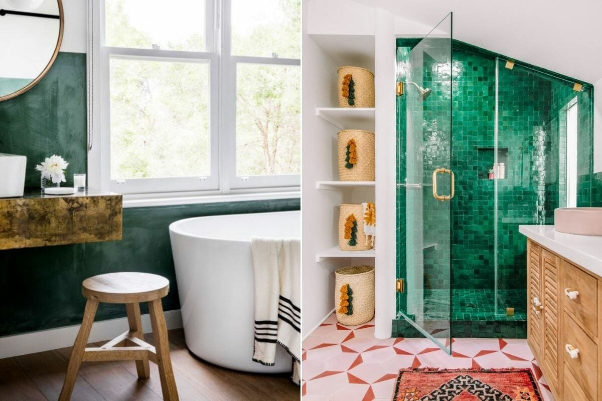 green painted wall and tiled shower backsplash