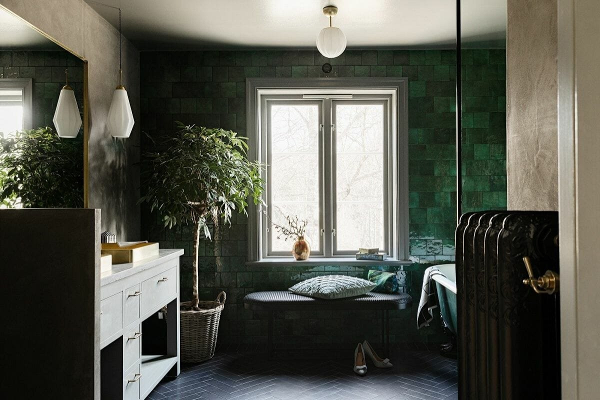 green tile perfect for 2021 bathroom trends