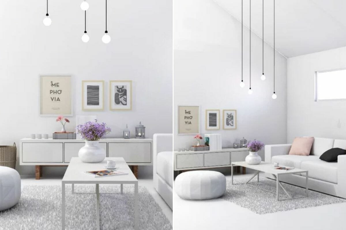 light-filled living room in a grey and white color palette that can make a small room look bigger