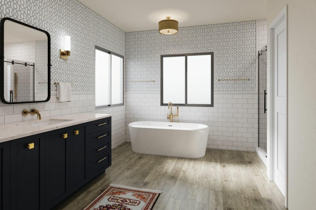 modern bathroom design with trendy metal fixtures