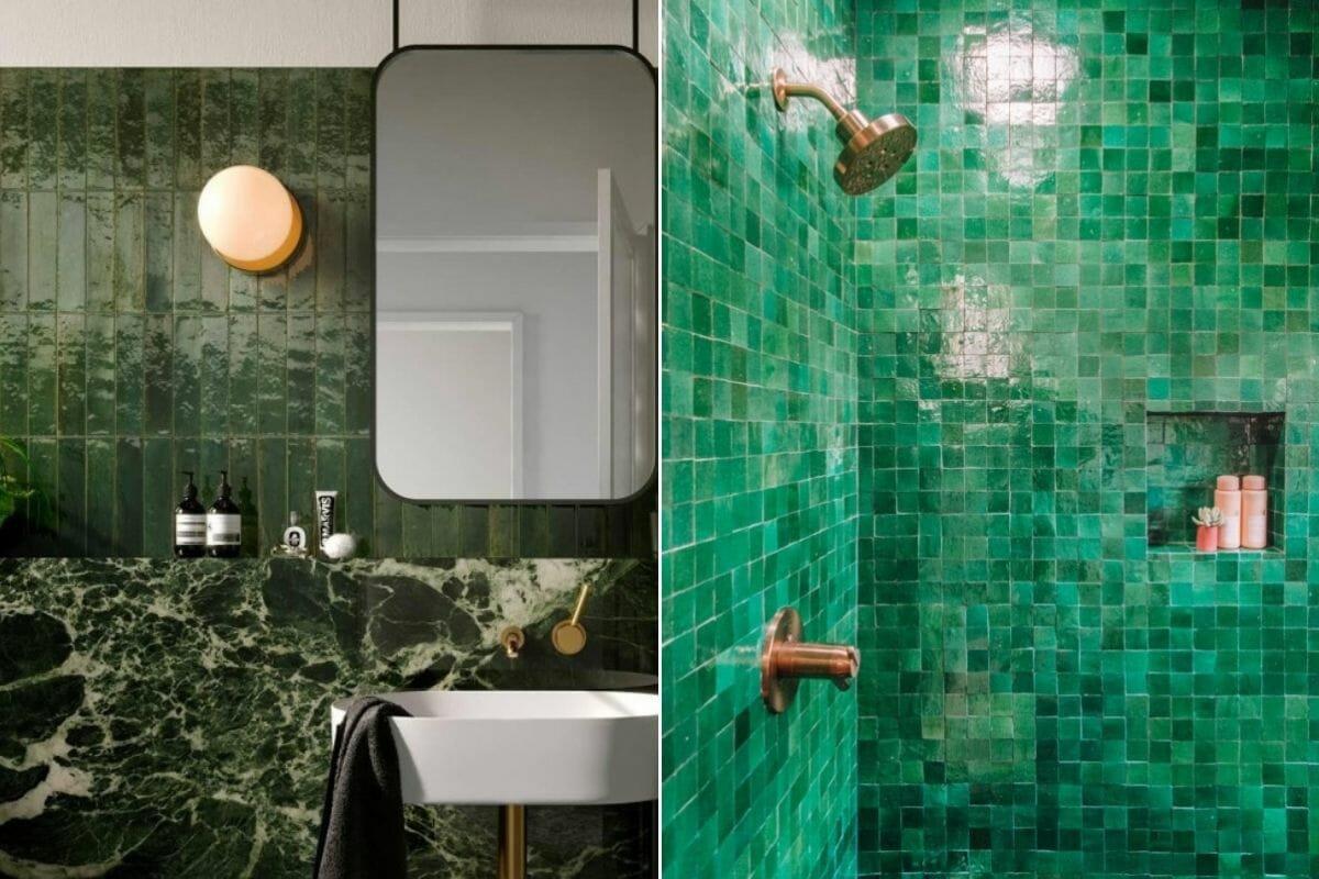 olive green vertical metro tiles as bathroom tile trends 2021