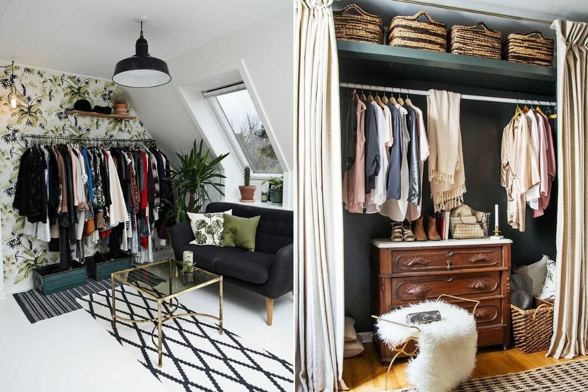 open clothing rails that save space and can make a room look bigger