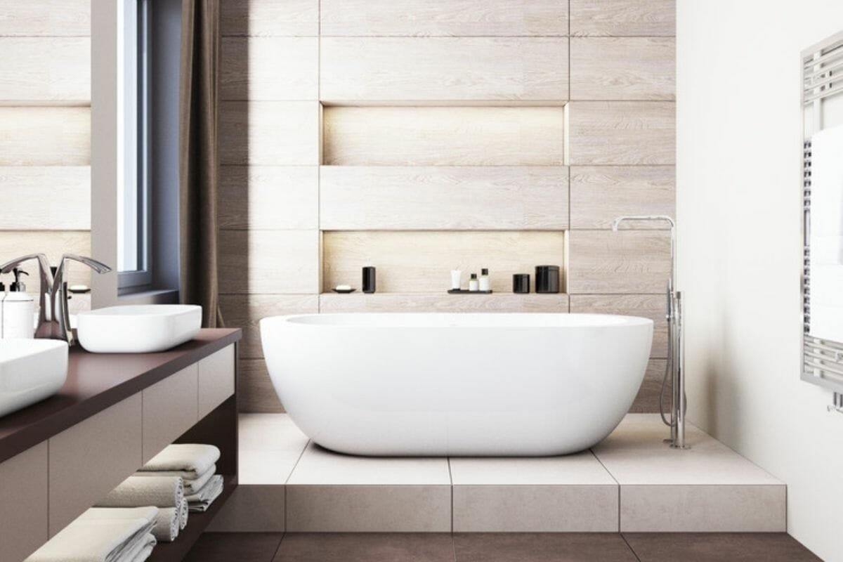 spa-like bathroom trend with large-format bathroom tile - a trend for 2021