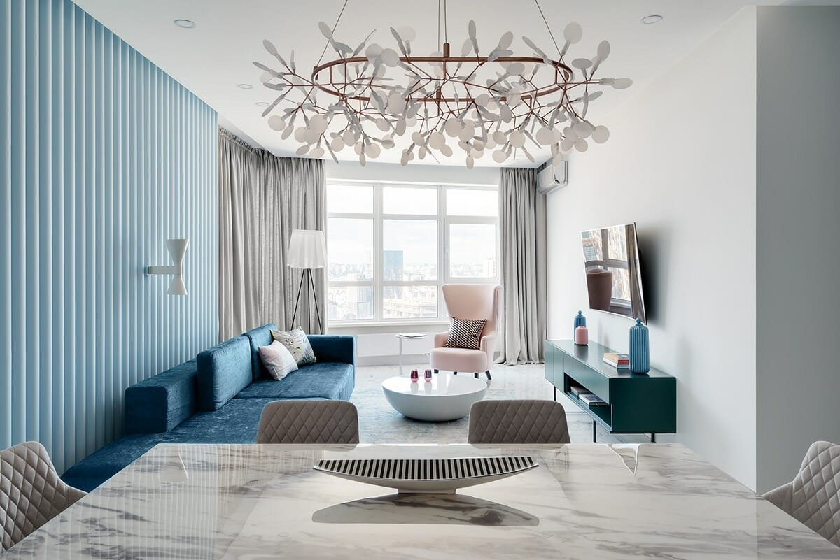 Accent walls in living room using soft blues