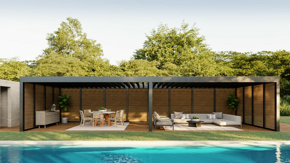 Beautiful swimming pool pergola with dining and lounge poolside furniture