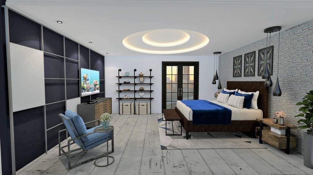 Chic bedroom design by one of the top San Antonio interior designers, Rowanna Loveless