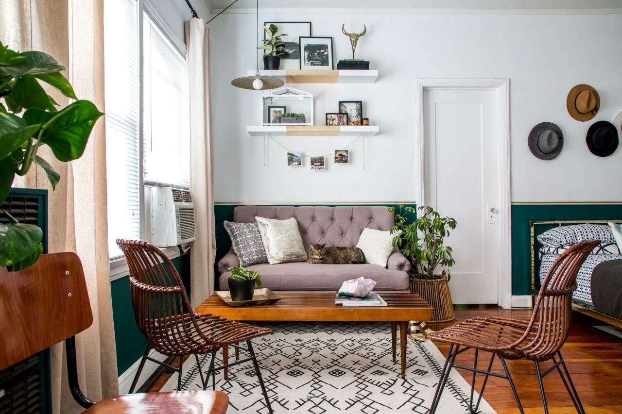 Chic living room for studio apartment decor