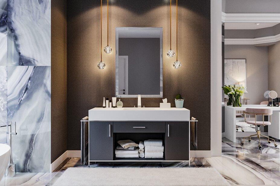 Contemporary design with matte black bathroom trends by Decorilla designer, Mladen C.
