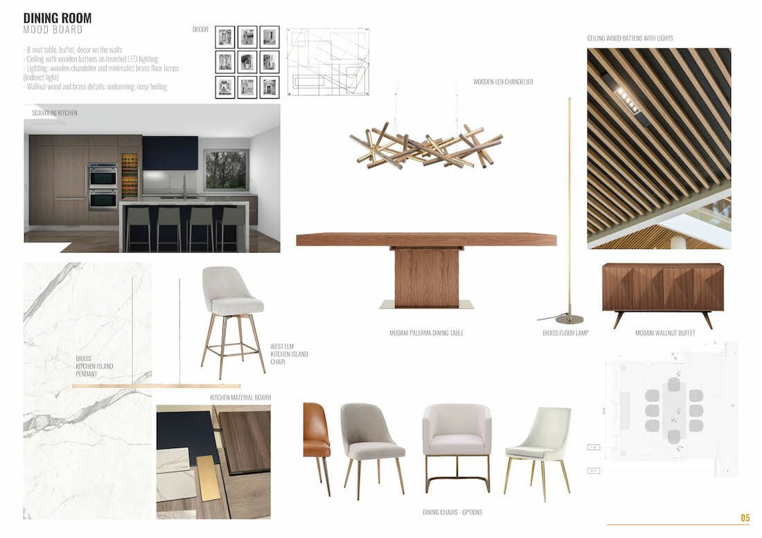 Contemporary house remodel dining room design board