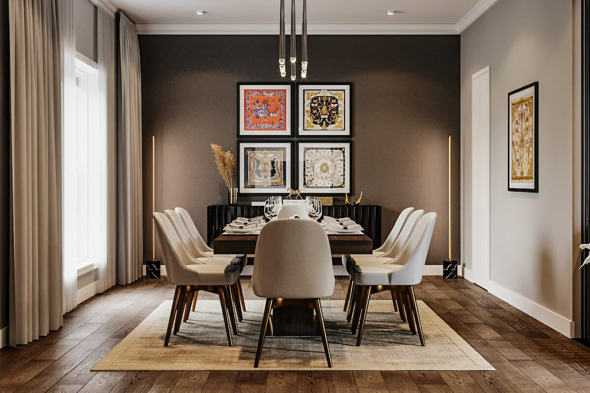 Dark grey accent wall for a contemporary dining room
