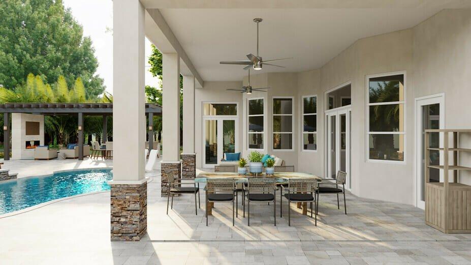 Dining room set up for poolside furniture