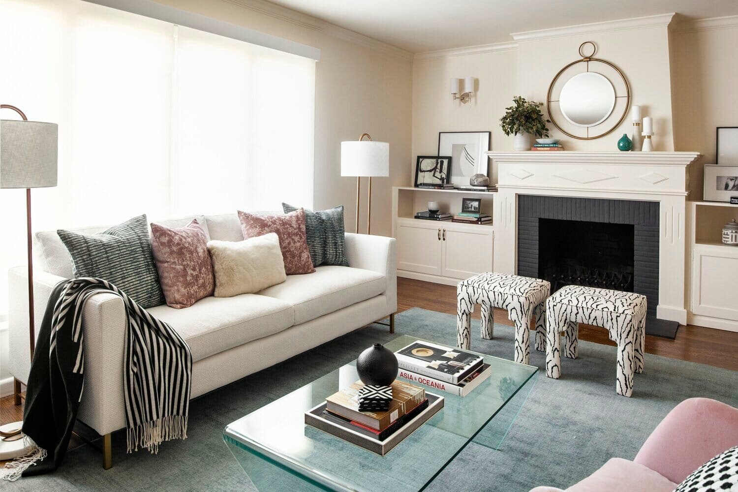 Eclectic living room by one of the top San Jose interior designers Rosanna Bassford