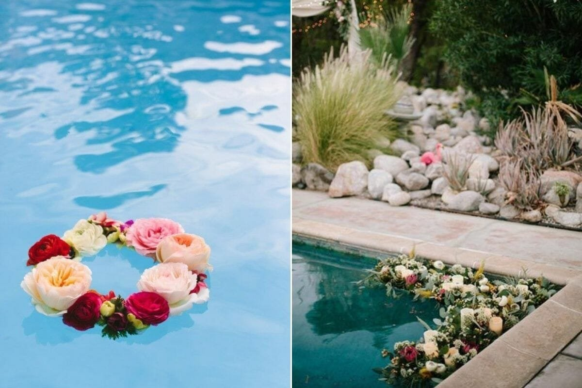 Floating poolside decorating with flowers