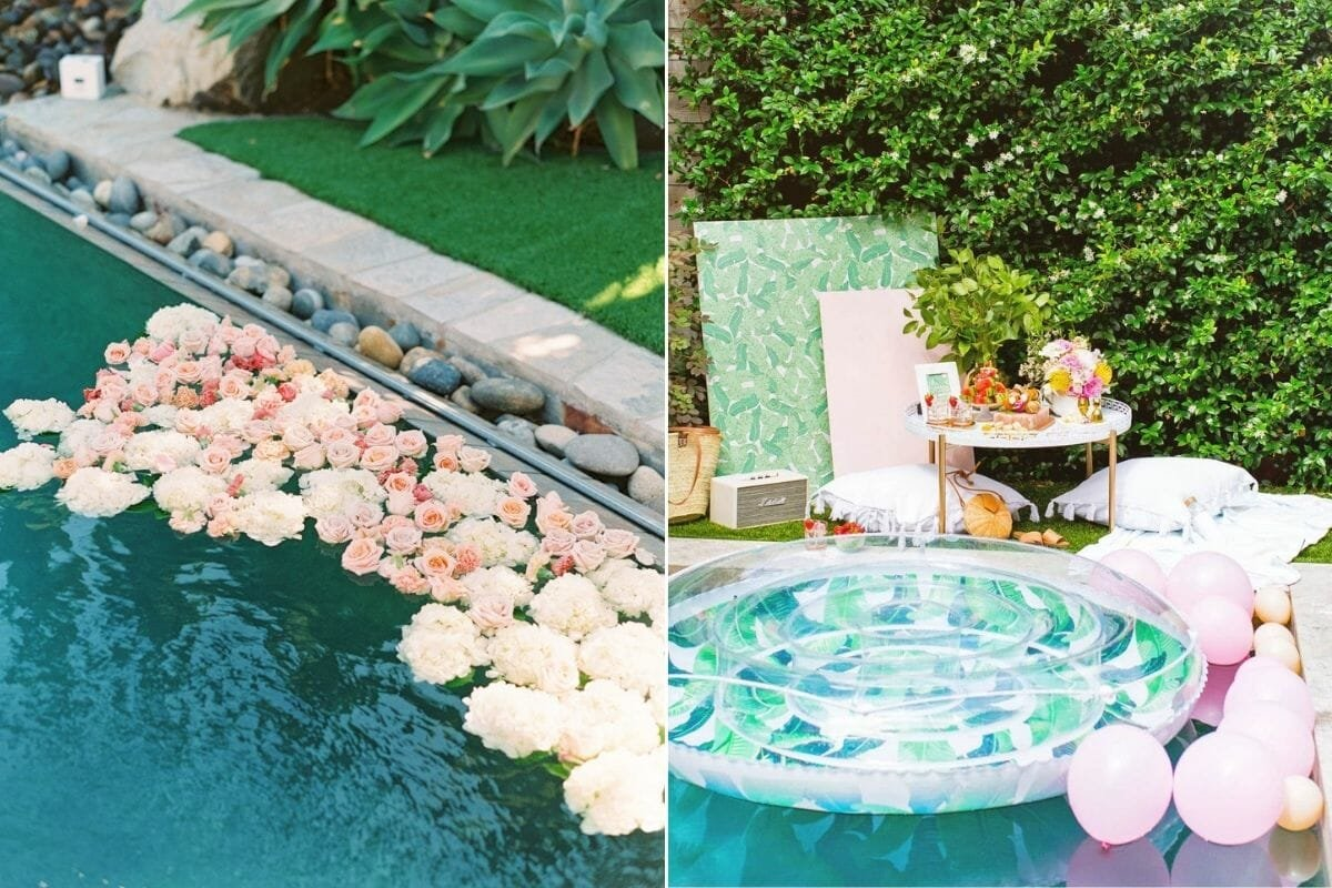 Floral floating pool decorations