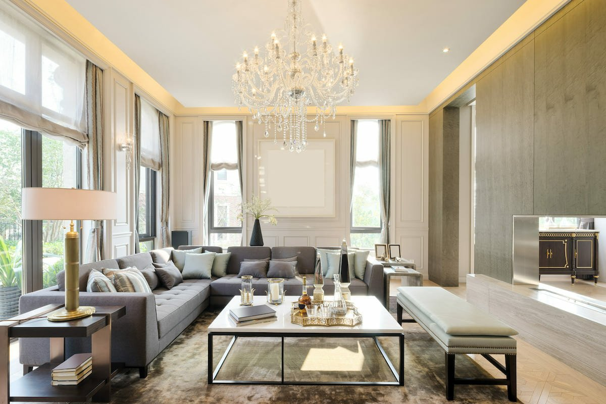 Glamorous living room with high end items from NYC furniture stores