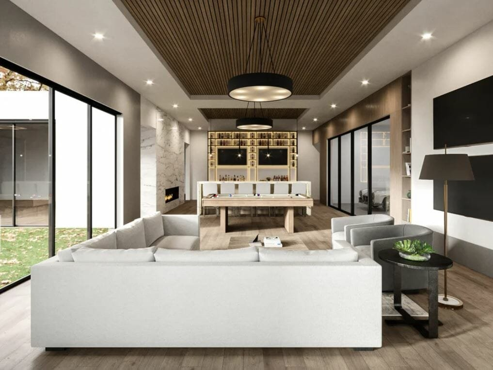In home bar design with a pool table and lounge area