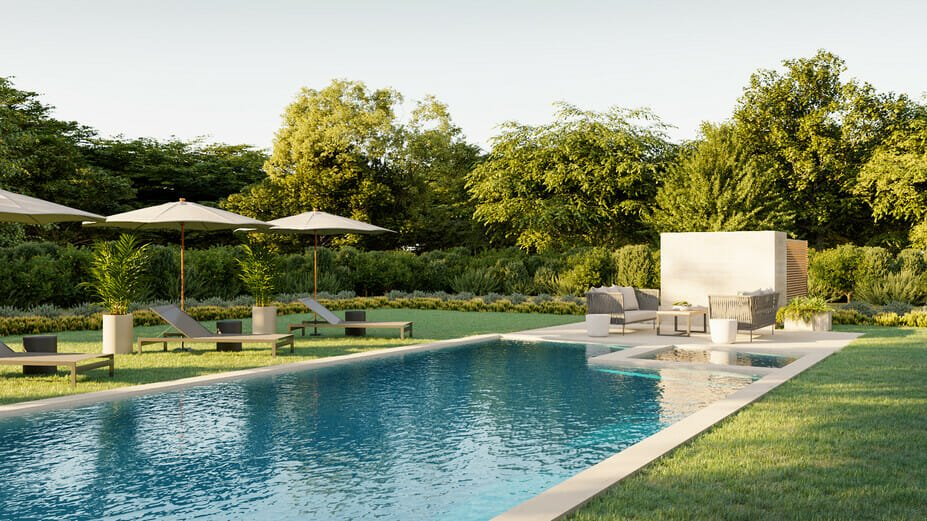 Lush poolside decor with hedges for privacy
