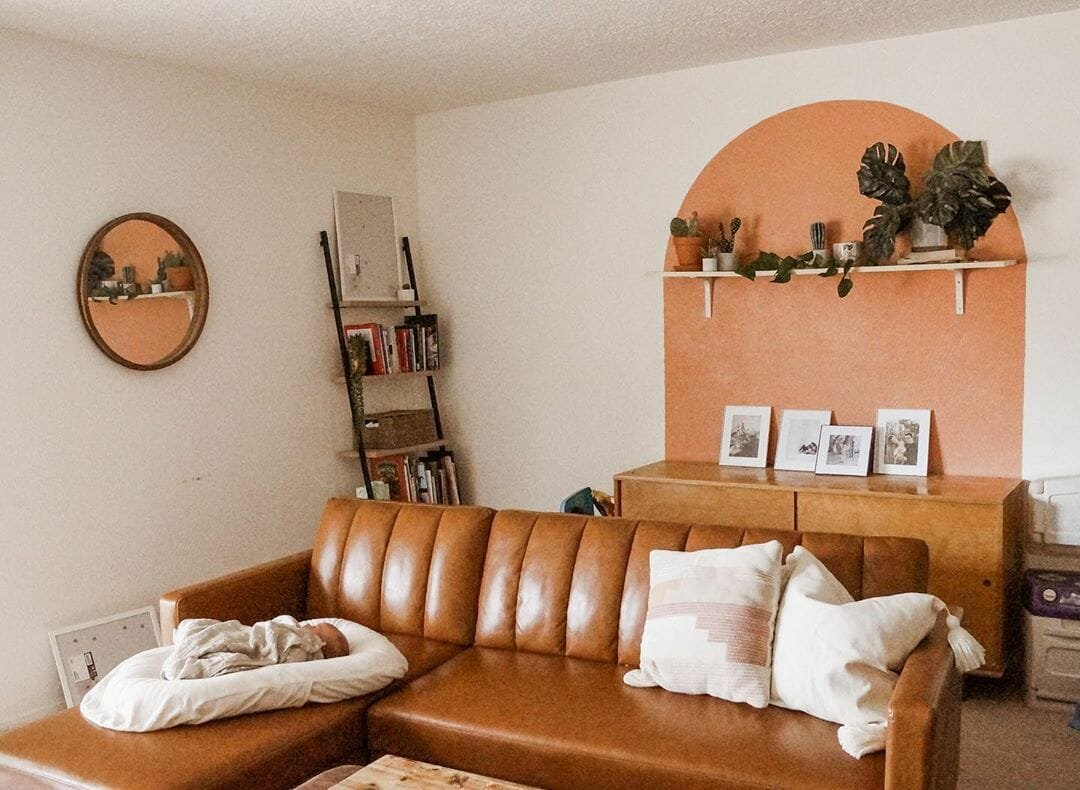 Mid-century inspired accent walls in living room