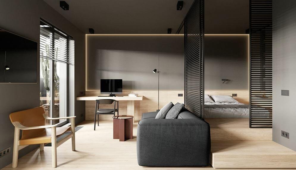Minimal studio apartment decor