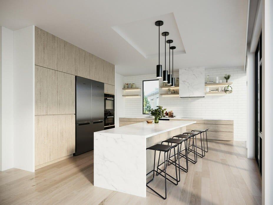 Minimalist kitchen with classic subway tile kitchen backsplash idea