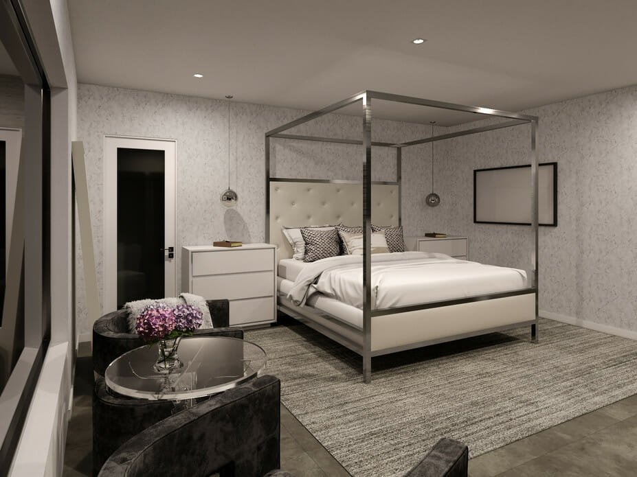 Modern contemporary interior design for a master bedroom suite