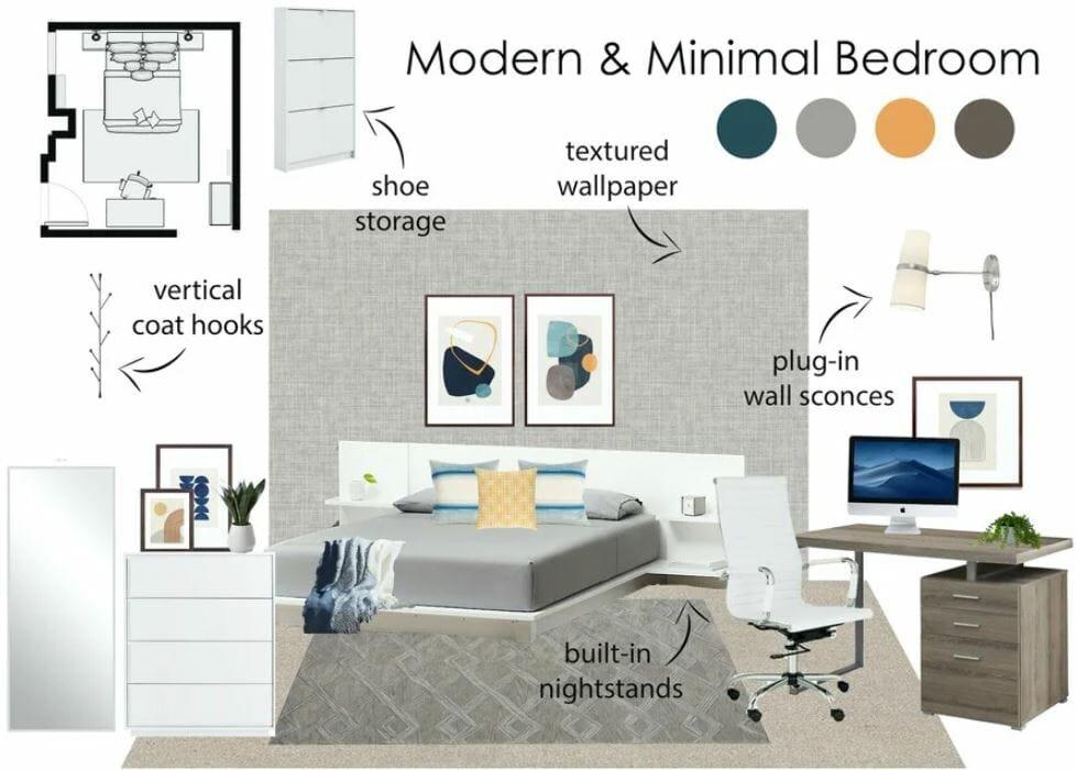 Modern mends bedroom mood board