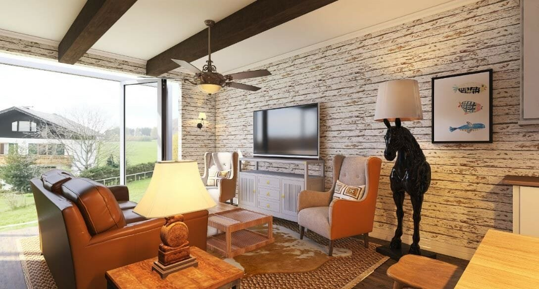 Modern rustic living room by Decorilla and top Mephis interior designer, Morgan W.