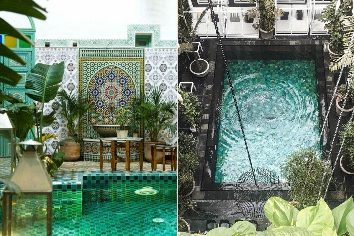 Mosaic and tiles create colorful pool patio decor