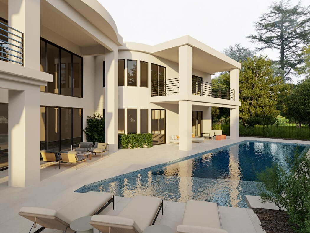 Neutral poolside furniture for ample lounging and seating