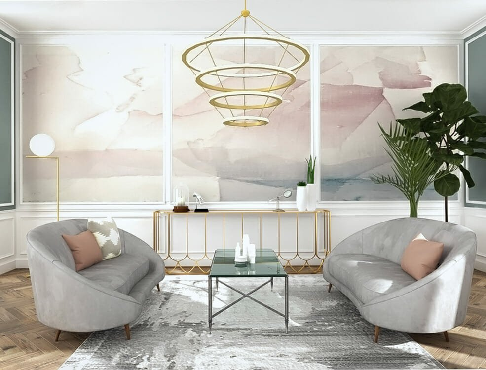 Ombre pink accent walls in living room design
