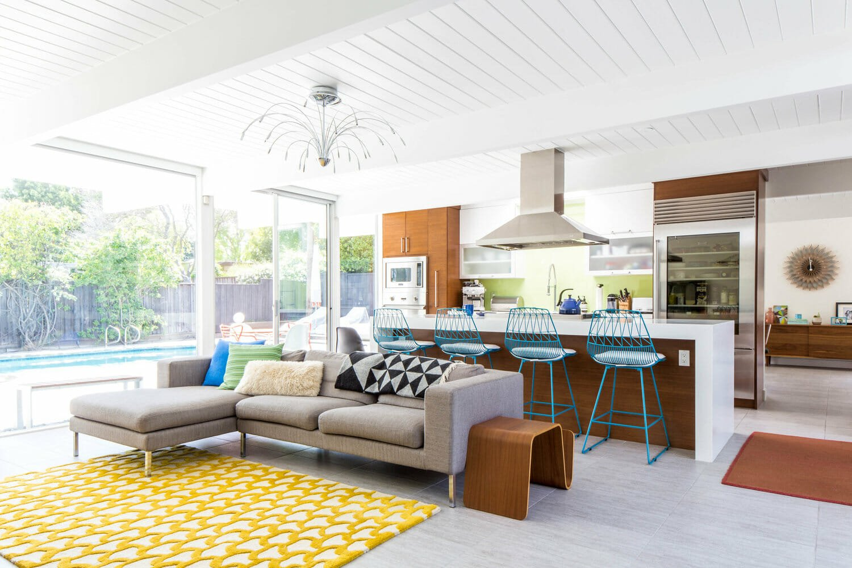 Open plan living room by San Jose interior designers Erwin and Pamela