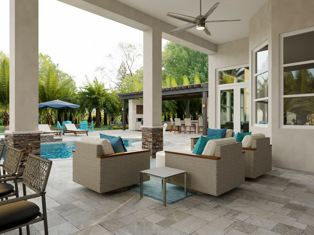 Poolside furniture and decor for ample seating outdoors