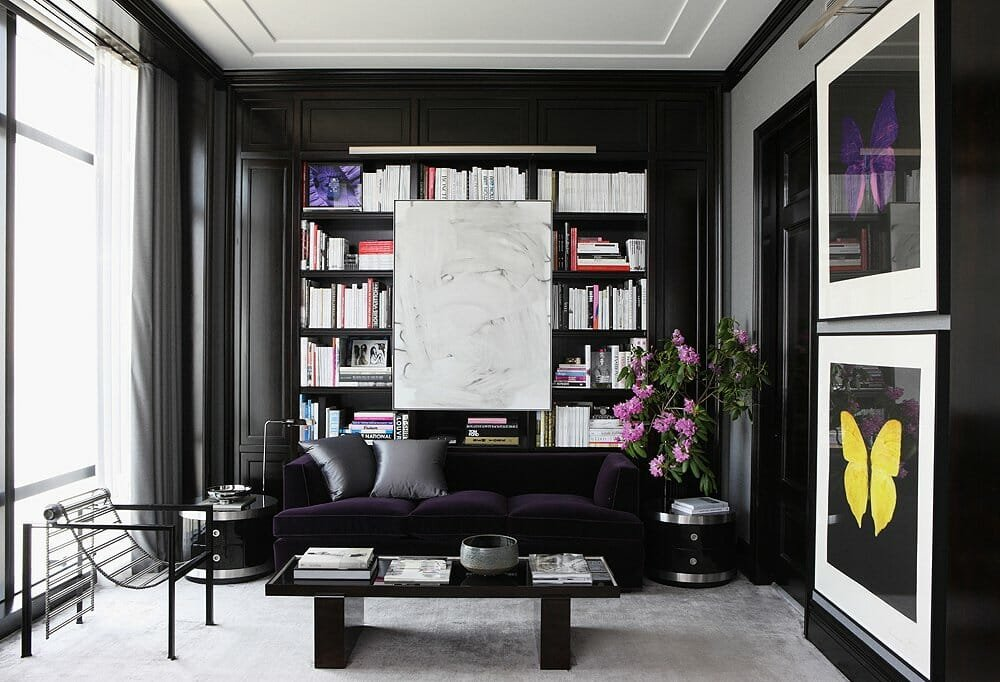 Ravishing interior with black accent wall in living room