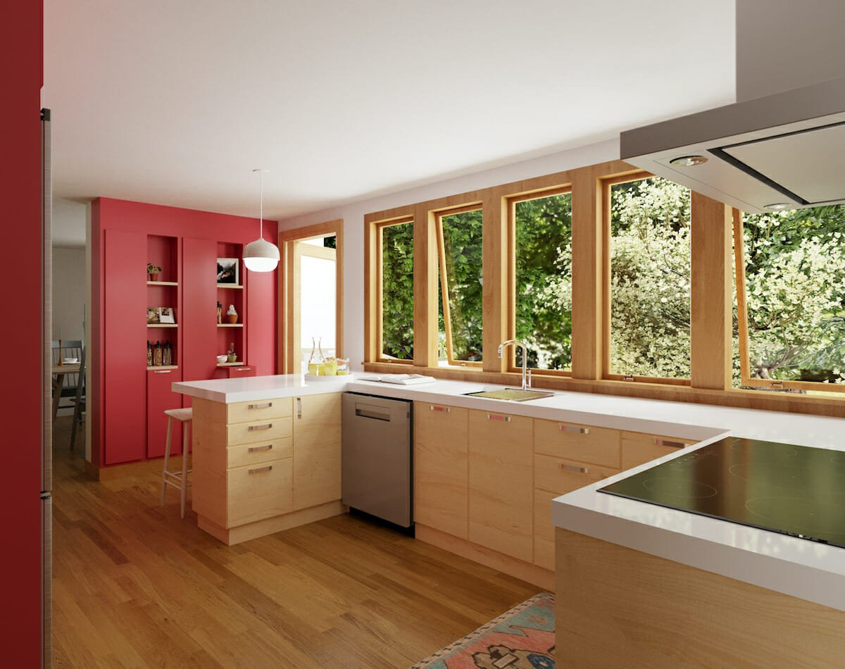 Scandinavian kitchen with a stunning red accent wall