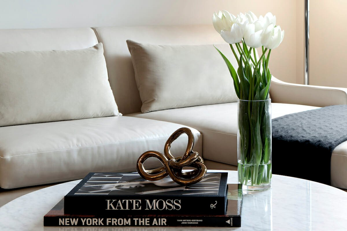 Simple white tulip centerpiece from NYC Flower Market