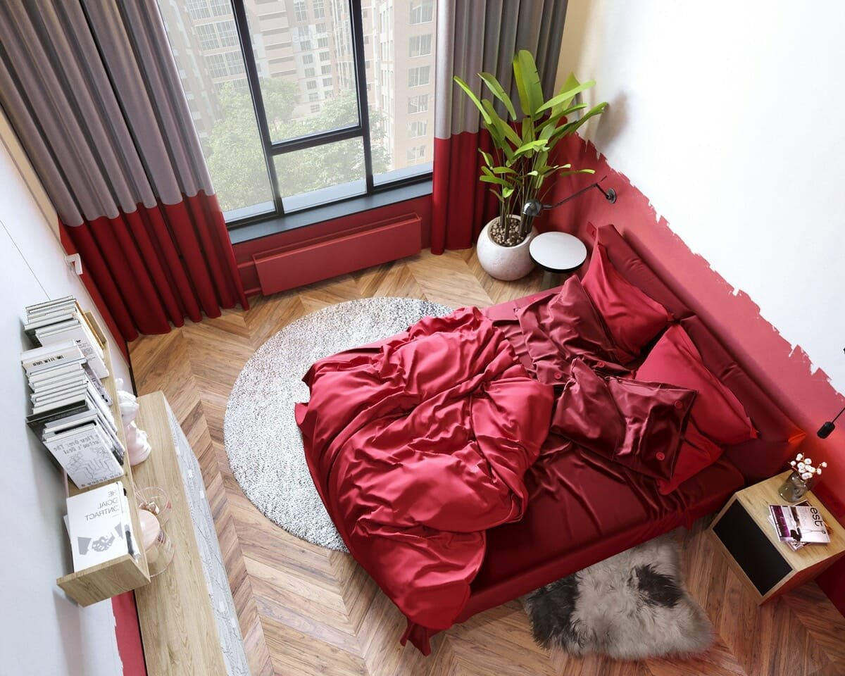 Stunning bedroom design in one of the most ravishing accent wall colors, red
