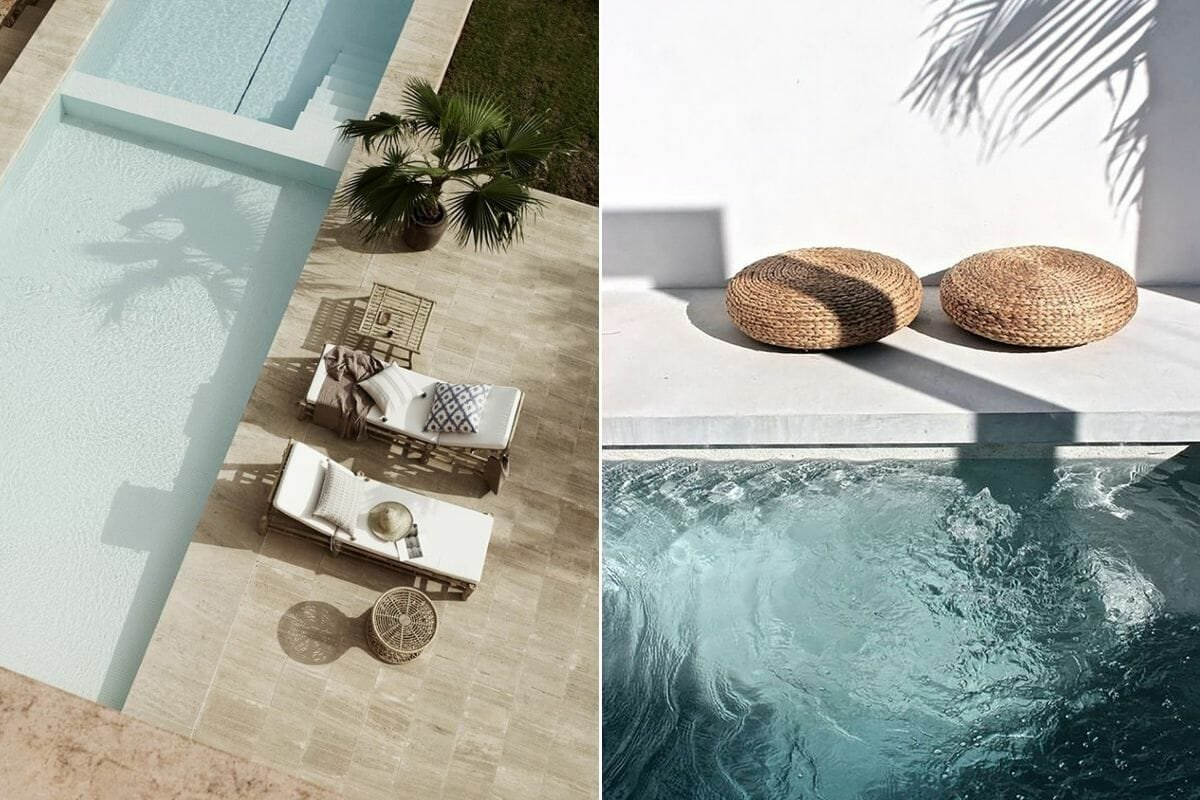 Wicker poolside furniture double as soothing decorating ideas