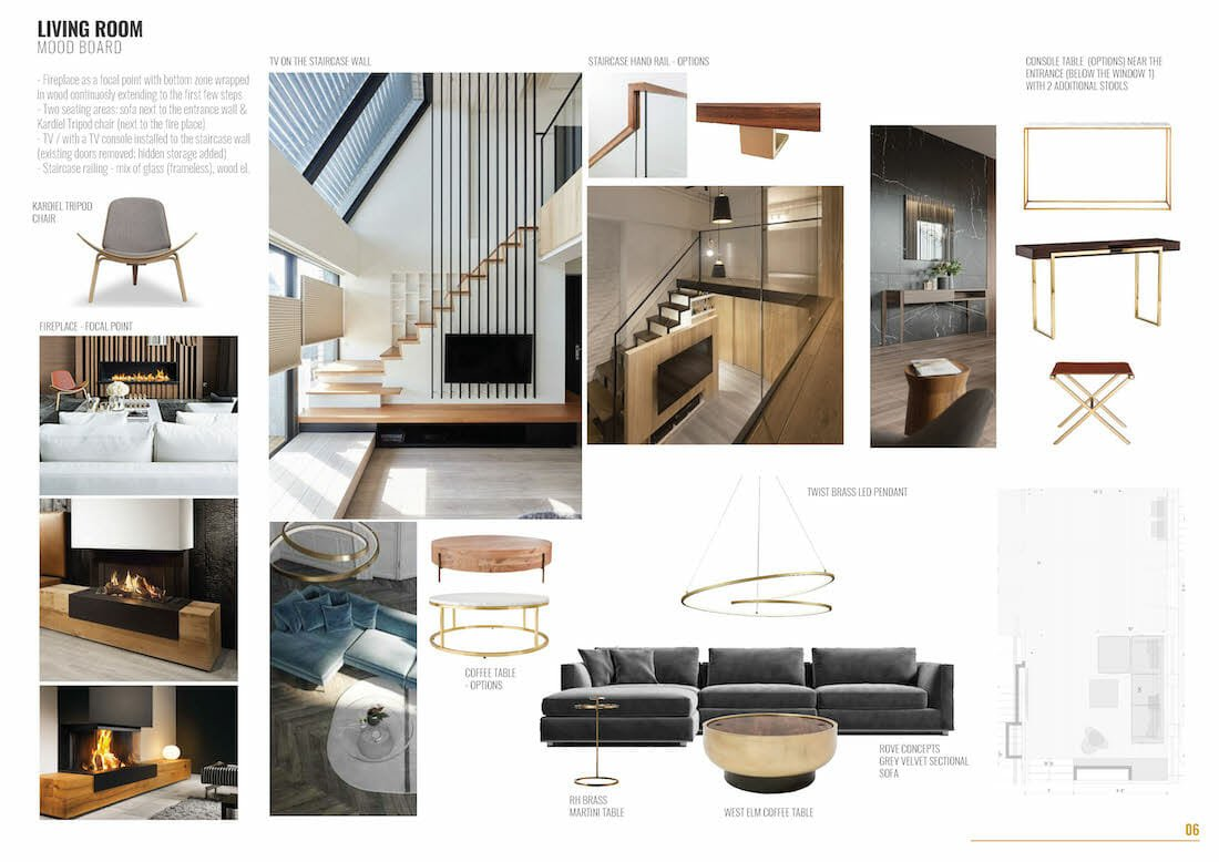 contemporary home remodel living room design board