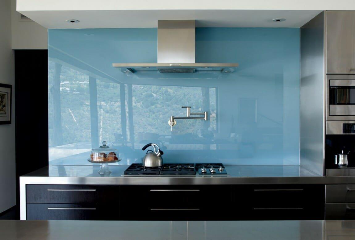 modern backsplash - single panel glass