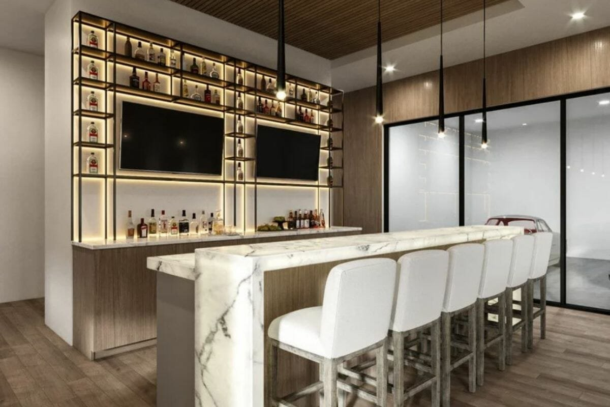 modern home bar design with onyx countertop wet bar and garage showroom