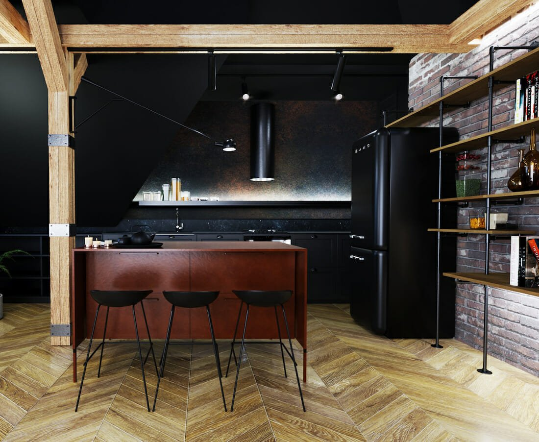 painting accent walls in the kitchen the color black