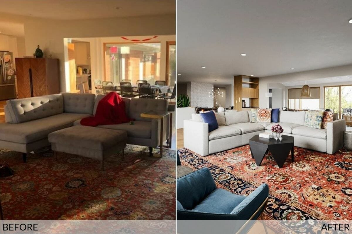 Before and after the transformation into an eclectic style living room